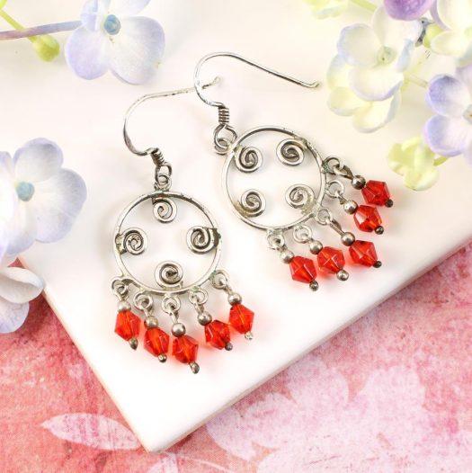 Red Chandelier Earrings E-0198-a