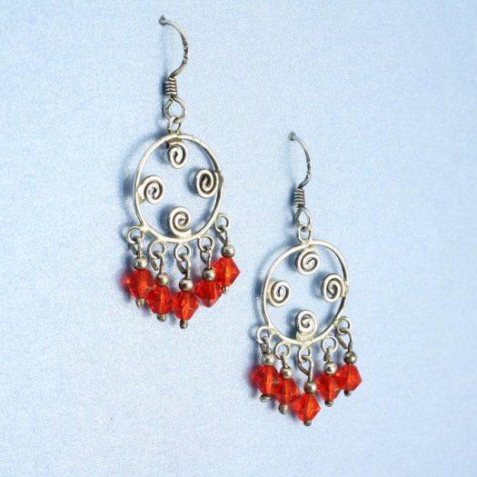 Red Chandelier Earrings E-0198-b