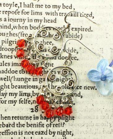 Red Chandelier Earrings E-0198-c