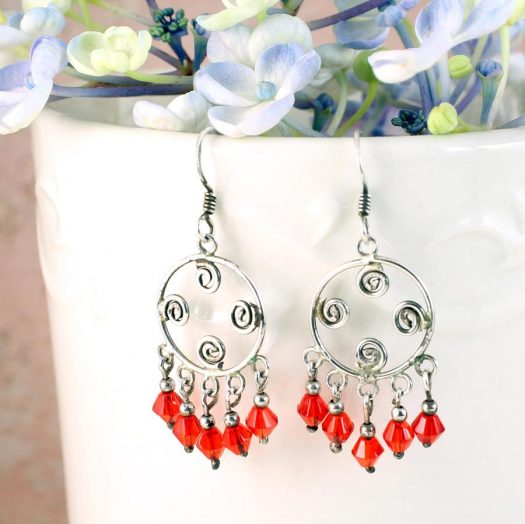 Red Chandelier Earrings E-0198-e