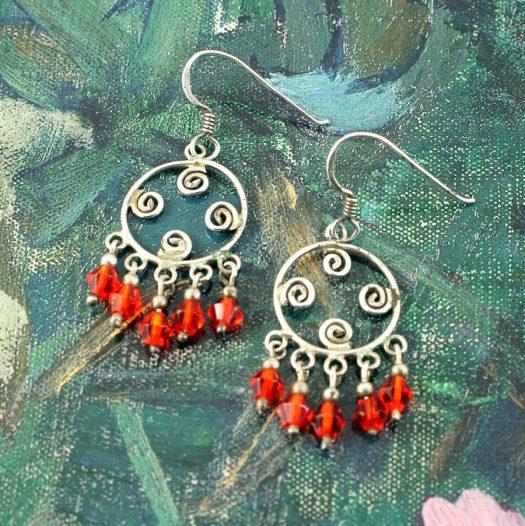 Red Chandelier Earrings E-0198-f