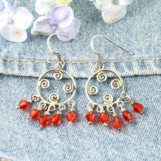 Red Chandelier Earrings E-0198-g