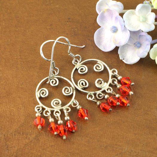 Red Chandelier Earrings E-0198-h