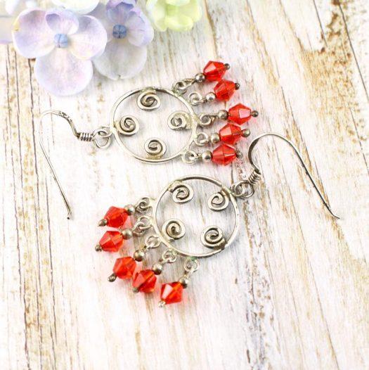 Red Chandelier Earrings E-0198-i
