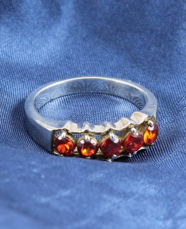 Tiger Orange Rhinestone Ring-R-0145-d