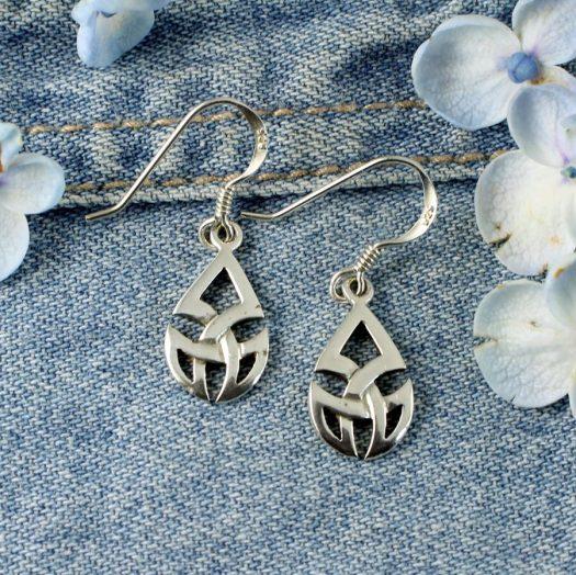 Silver Trinity Knot Drops E-0183-d