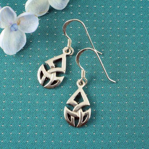 Silver Trinity Knot Drops E-0183-f