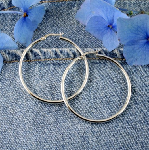Sterling Silver 40mm Hoops E-0193-a