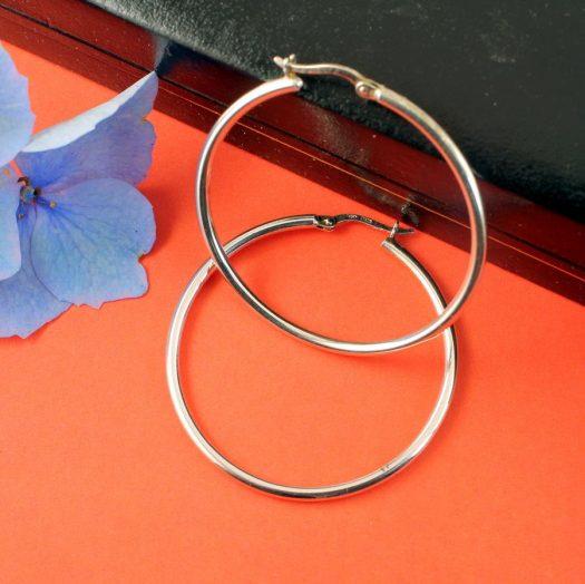Sterling Silver 40mm Hoops E-0193-c