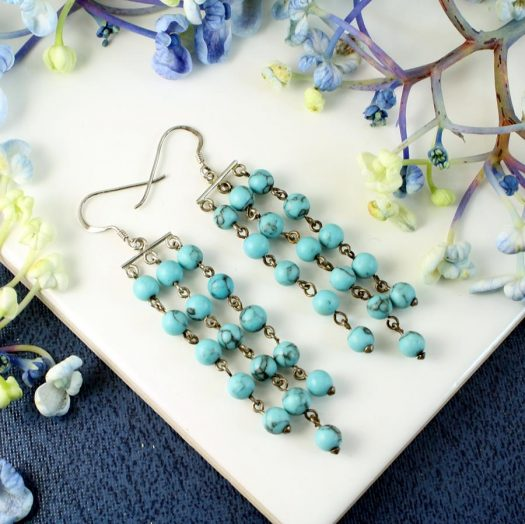 Turquoise Bead Chandeliers E-0129-a