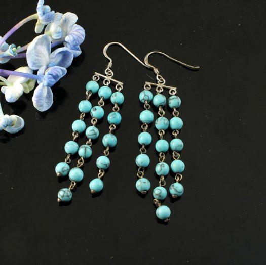 Turquoise Bead Chandeliers E-0129-b