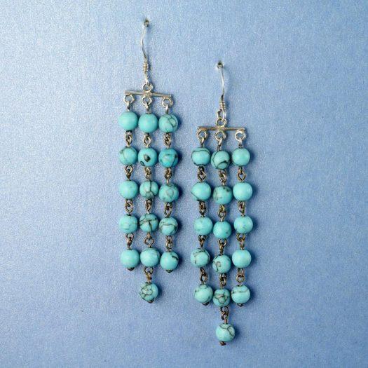 Turquoise Bead Chandeliers E-0129-c