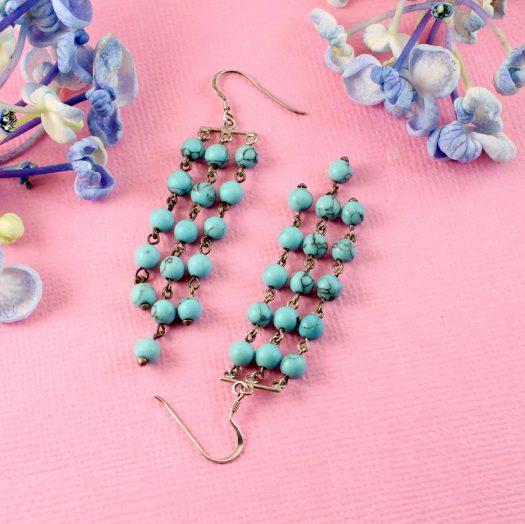 Turquoise Bead Chandeliers E-0129-e