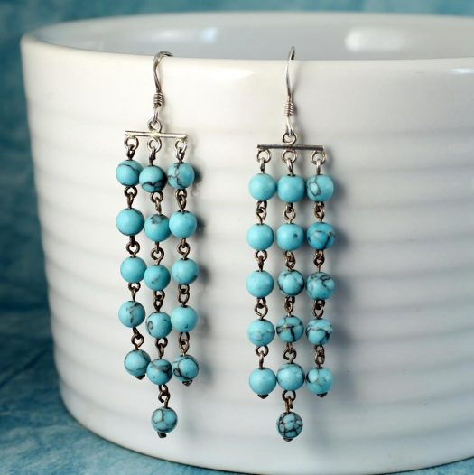 Turquoise Bead Chandeliers E-0129-f