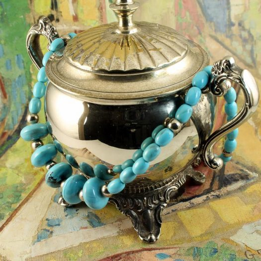 Turquoise Bead Necklace N-0153-a