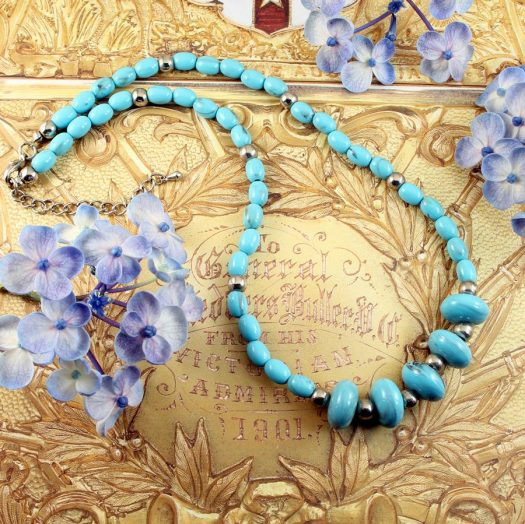 Turquoise Bead Necklace N-0153-b
