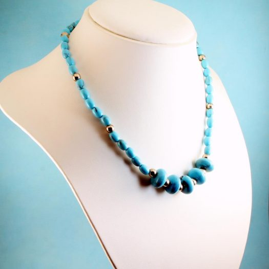 Turquoise Bead Necklace N-0153-c