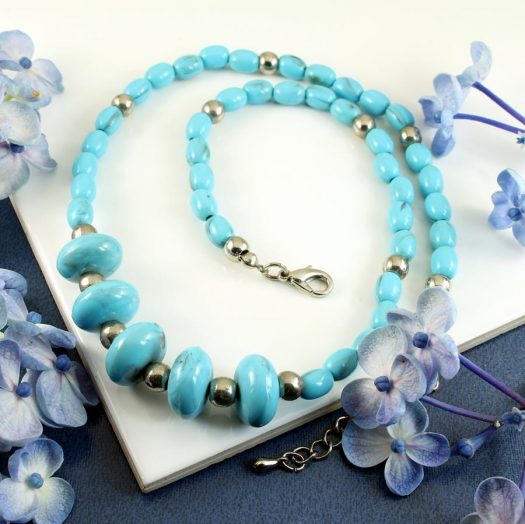 Turquoise Bead Necklace N-0153-d