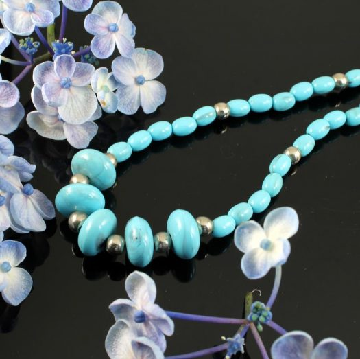 Turquoise Bead Necklace N-0153-e