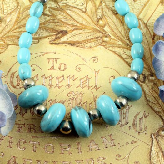 Turquoise Bead Necklace N-0153-f