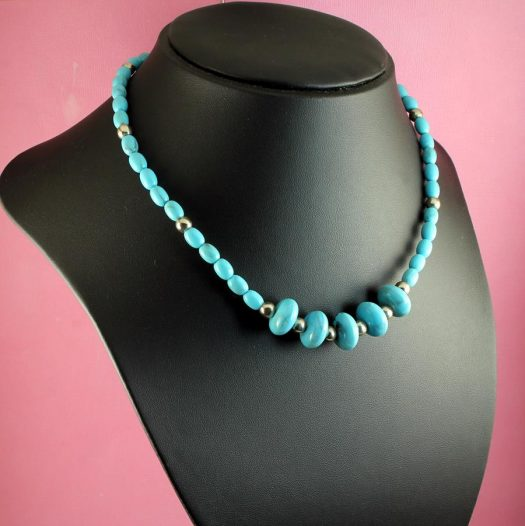 Turquoise Bead Necklace N-0153-g
