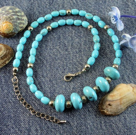 Turquoise Bead Necklace N-0153-h
