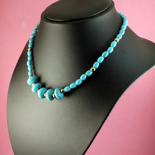 Turquoise Bead Necklace N-0153-i