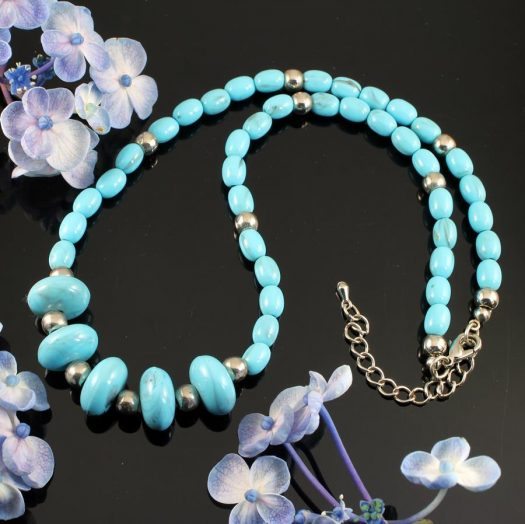 Turquoise Bead Necklace N-0153-j
