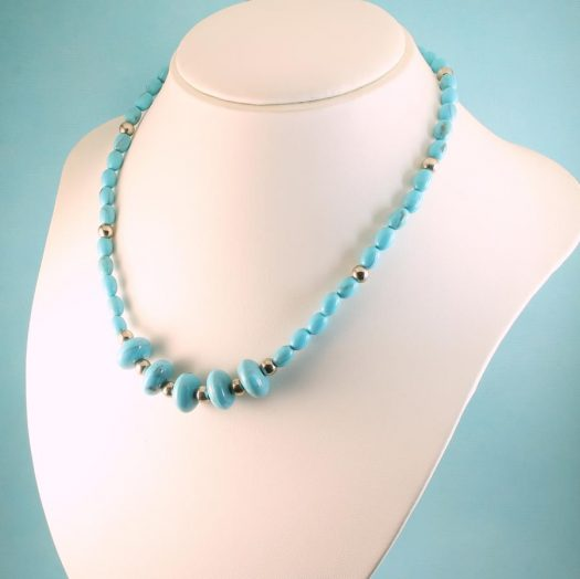 Turquoise Bead Necklace N-0153-k