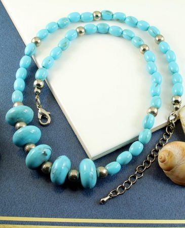 Turquoise Bead Necklace N-0153-l