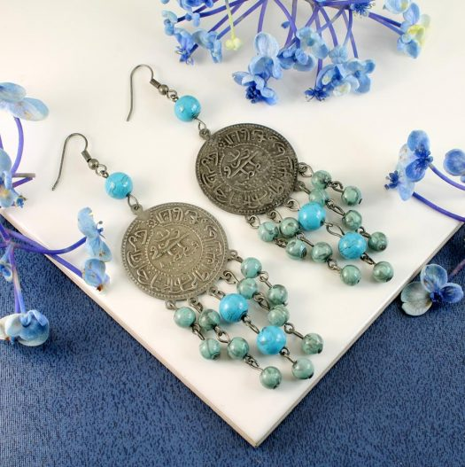 Turquoise Beads & Coin Drops E-0130-a