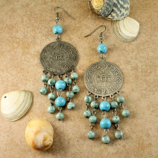 Turquoise Beads & Coin Drops E-0130-b