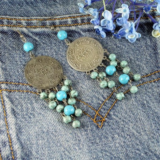 Turquoise Beads & Coin Drops E-0130-c