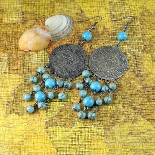 Turquoise Beads & Coin Drops E-0130-d