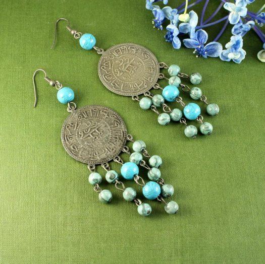 Turquoise Beads & Coin Drops E-0130-e