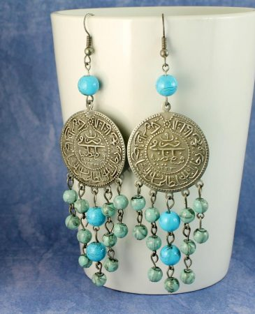 Turquoise Beads & Coin Drops E-0130-f