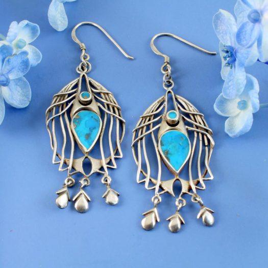 Turquoise Birdcage Drops E-0125-a