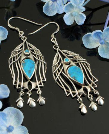Turquoise Birdcage Drops E-0125-c