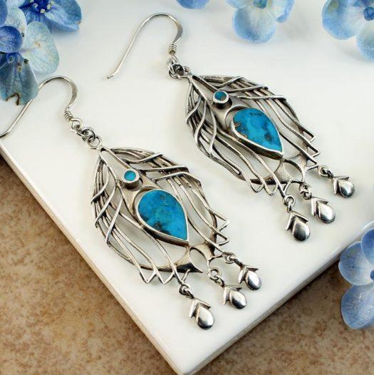Turquoise Birdcage Drops E-0125-d