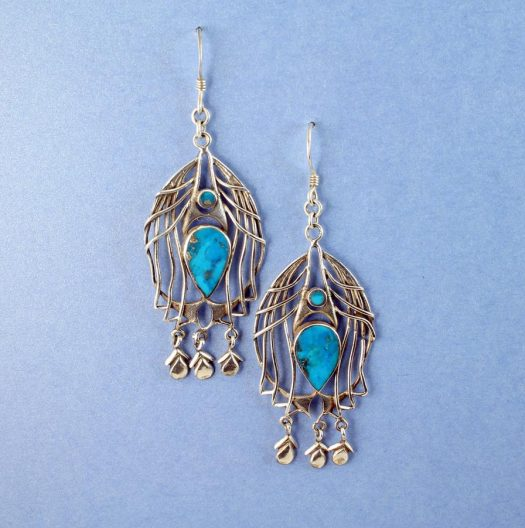 Turquoise Birdcage Drops E-0125-g
