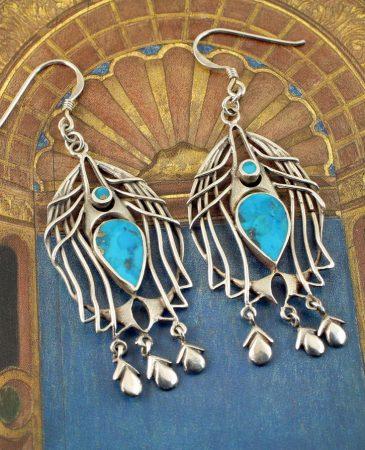 Turquoise Birdcage Drops E-0125-h