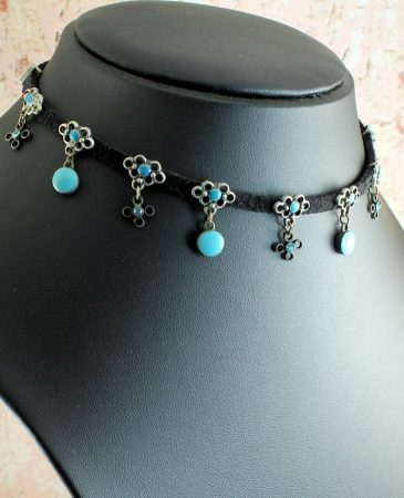 Turquoise Charms Collar-Choker N-0104-b