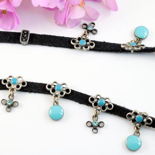 Turquoise Charms Collar-Choker N-0104-c