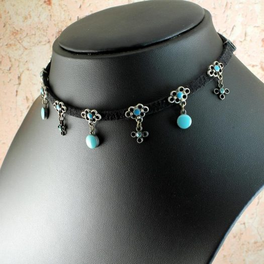 Turquoise Charms Collar-Choker N-0104-d