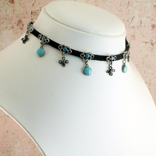 Turquoise Charms Collar-Choker N-0104-e