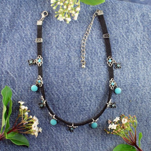 Turquoise Charms Collar-Choker N-0104-f