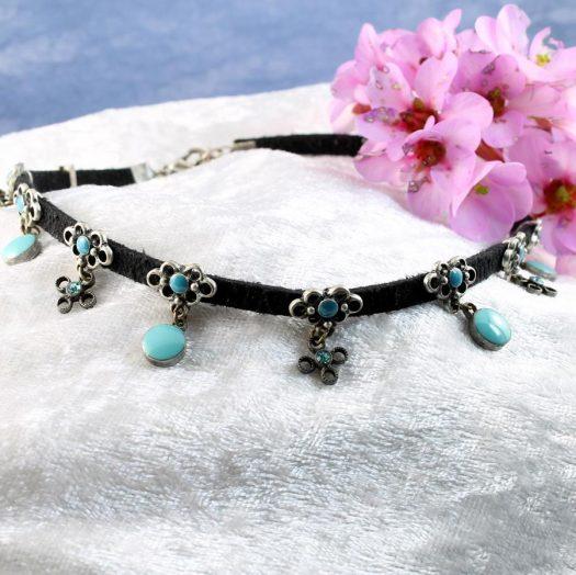 Turquoise Charms Collar-Choker N-0104-g