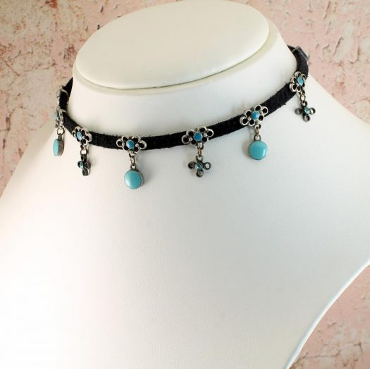 Turquoise Charms Collar-Choker N-0104-h