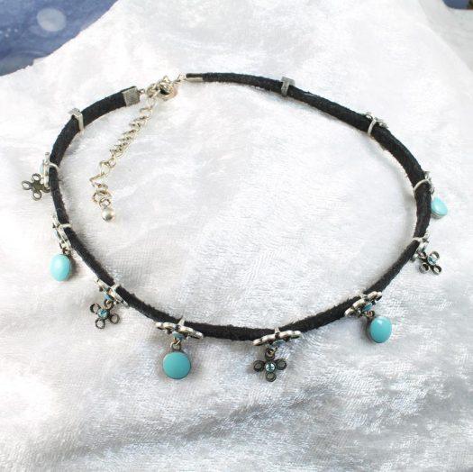 Turquoise Charms Collar-Choker N-0104-i