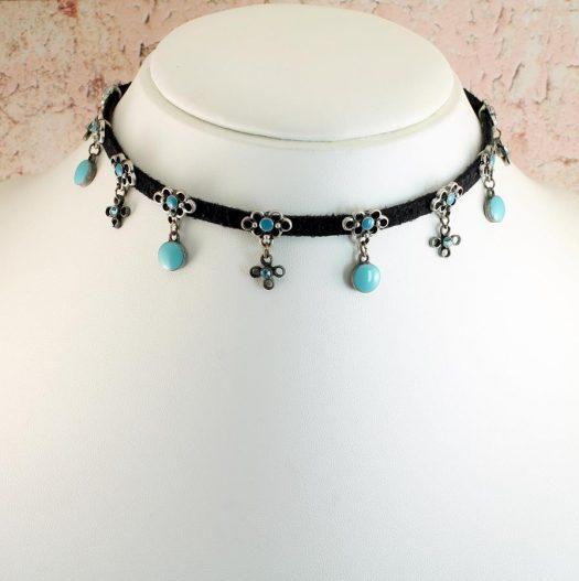 Turquoise Charms Collar-Choker N-0104-j